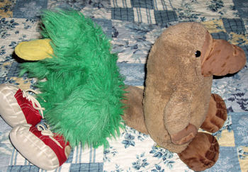 Manhattan Brown Platypus AND GUND? Shaggy Green Duck Wearing Red Sneakers