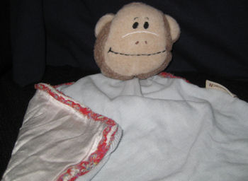 Cach Cach Blue Monkey Security Blanket with White Satin Lining