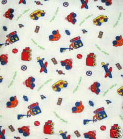 Handmade flannel blanket with cars, boats, trucks pattern