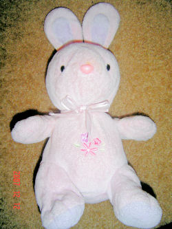 Carter's Just One Year musical pink rabbit with ONE purple flower