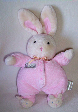 Carter's Baby Girl Cream Rabbit Wearing Pink Sleeper & Bunny Slippers AND Small GUND Green Frog with Chenille Loop Skin