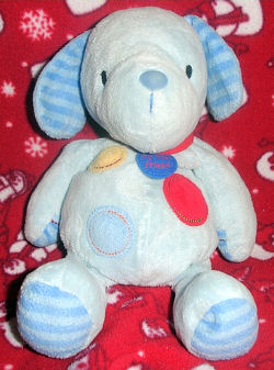 , FOUND – CARTER'S Just One Year BLUE DOG with SPOTS & STRIPES