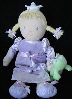 Carter's Princess Blonde Pigtail Doll Wearing a Lavender Dress & Holding a Frog