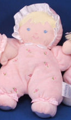 Carter's No. 46631 Blonde Rattle Doll with Velour Hair Wearing a Pink Sleeper Embroidered with Rosebud
