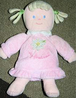 Carter's Just One Year Blonde Pigtails My First Doll in Pink Dress with Green Flower