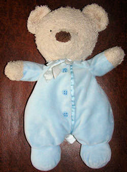 Carter's Tan Bear wearing a Blue Sleeper with Fake Buttons
