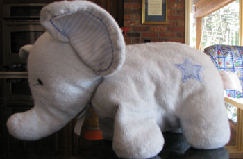 , FOUND – 2008 Carter's Just One Year BLUE ELEPHANT with STRIPED EARS & FEET & STAR on TUSH