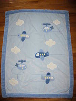 Carter's Just One Year Blue Baby Blanket with Helicopters & Airplanes with Green Lining
