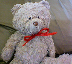 , FOUND – Carter's BROWN Chenille BEAR with RED RIBBON