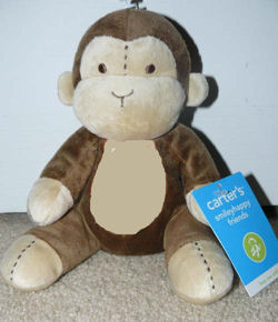 Carter's Cream and Brown Monkey Rattle