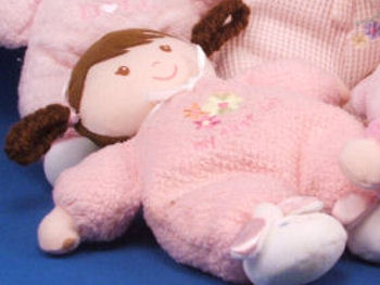 , FOUND – Carter's BRUNETTE Looped PIGTAIL MY FIRST DOLL Wearing PINK SLEEPER & BUNNY SLIPPERS