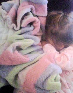 Carter's Lavender, Pink, Green Chenille Blanket
