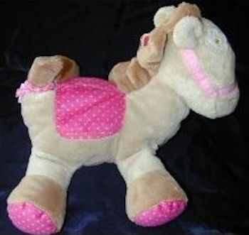 Carter's Just One Year Cream Horse with Pink Polka Dot Saddle & Feet