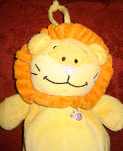 , FOUND – KIDS II Carter's YELLOW VELOUR Musical Crib Pull LION