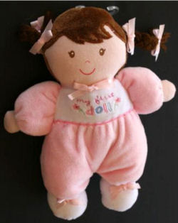 Carter's My First Doll Wearing Pink with Brown Yarn Bangs & Pigtails