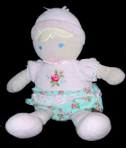 , DISCONTINUED – Carter's BLOND DOLL Wearing a PINK TOP with ROSE PRINT BLUE Ruffled SKIRT
