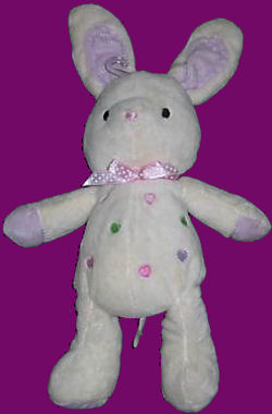 Carter's White Bunny Hearts on Tummy wit Purple Ears