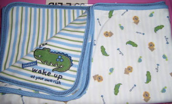 Carter's Jungle Friends Baby Blanket with Blue & Green Striped Side & Animal Print Side & Alligator in Corner