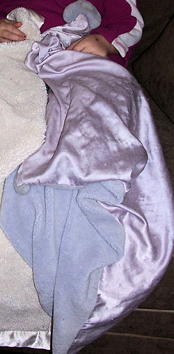 Carter's Child of Mine Lavender Blanket with Plush Hearts in Opposite Corners and Satin Lining