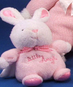 Carter's Small White Rabbit Little Angel with White Satin Wings and Pink Body