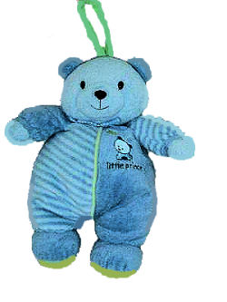 Carter's Little Prince Blue Bear Crib Pull Toy plays Twinkle Twinkle