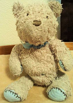 Carter's Made with Love Brown Bear with Blue Patches & Brown Stitching