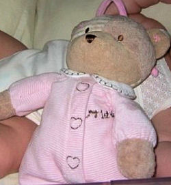 Carter's My 1st Teddy Patchwork Bear Wearing Pink Corduroy PJ's with Heart on Chest & Feet