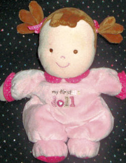 Carter's Just One Year Brunette Cloth Pigtails My First Doll