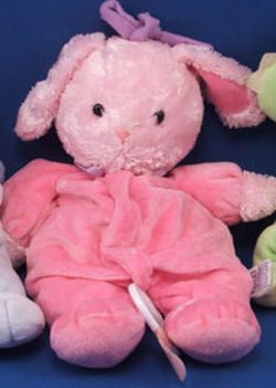 Carter's Pink Rabbit Wearing Dark Pink Velour with Pink Flowers Playing Brahms