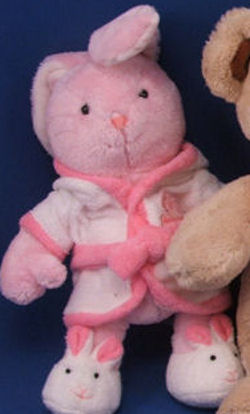 Carter's Just One Year Pink Rabbit Wearing a White Bathrobe & Bunny Slippers