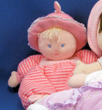 Carter's Starters Hot Pink Striped Blonde Doll with Hat Wearing Bunny Slippers