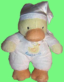 Carter's Yellow Duck with White Satin Stocking Cap and Quack, Quack Duck on White Sleeper