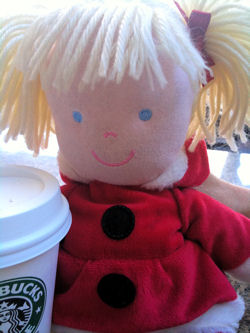 , Searching – 2009 Carter's BLONDE CHRISTMAS DOLL Wearing SANTA SUIT with LARGE BLACK BUTTONS, STRIPED LEGGINGS, MARY JANES, HOOD