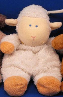 , FOUND – Carter's Child of Mine WHITE LAMB with ORANGE HANDS & FEET Crib Pull BRAHMS