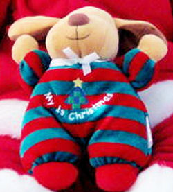 , FOUND – Soft Dreams SMALL MY 1ST CHIRSTMAS DOG Wearing RED & GREEN STRIPES