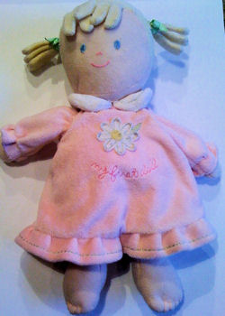 Carter's Just One Year Blond Pony Tail My First Doll with Pink Dress with Green Ribbon