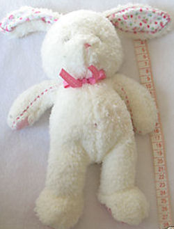 Carter's White Prestige Giggle Rabbit with Print Ears, Pink Paws, and Stitching on Arms