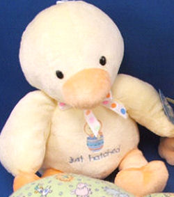 Carter's Just One Year Just Hatched Yellow Duck that Plays Rock a Bye Baby & the Cheeks Light Up
