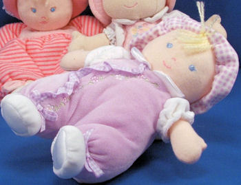 , FOUND – Carter's LAVENDER BLOND DOLL with CHECKERBOARD CAP & RATTLE
