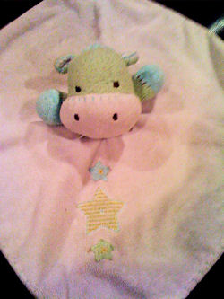 Carter's Lime Green, White & Blue Hippo Blankie with 3 Stars
