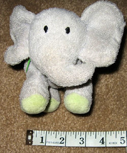 Small Carter's Prestige No. 4945 Gray Elephant with Green Feet