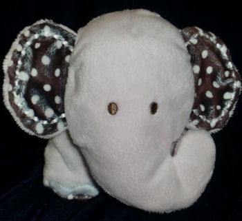 Carter's Small Pink Elephant with Brown Polka Dot Ears & Hearts on Tush