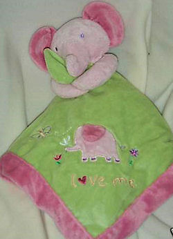 , FOUND – 2006? Carter's Just One Year PINK ELEPHANT on GREEN BLANKIE embroidered LOVE ME
