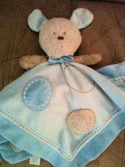 , Searching – Carter's Just One Year TAN DOG with BLUE EARS on BLUE BLANKIE with TAN SPOT & STITCHING