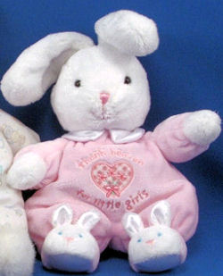 Carter's THANK HEAVEN for LITTLE GIRLS WHITE RABBIT with PINK SLEEPER