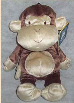 Carter's Just One Year Stitches Brown & Cream Monkey with Cream Face, Ears, Tummy, Hands & Feet