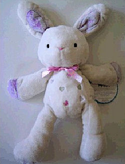 Carter's Just One Year White Rabbit with Purple Ears, Hands, Feet & Multi-Color Hearts on Tummy