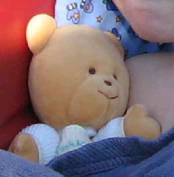 2003 Oshkosh Tan Bear with Yellow Thermal Overalls