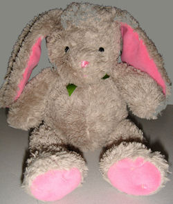 Carter's Tan & Pink Chenille Rabbit with Green Bow