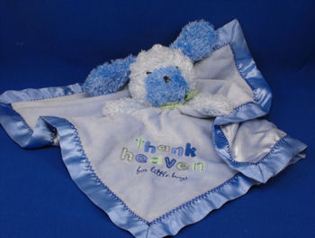 Carter's Child of Mine Blue Dog Thank Heaven for Little Boys Rattle Blankie